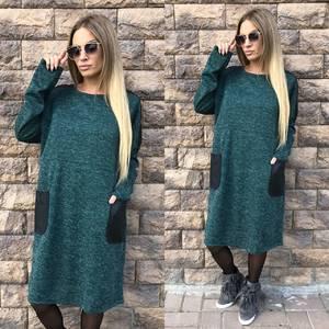 Платье короткое трикотажное однотонное У7543