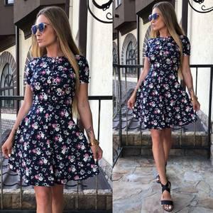 Платье короткое с принтом летнее У9049