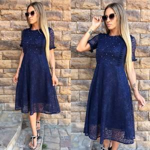 Платье короткое коктейльное синее Т9765