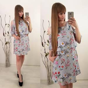 Платье короткое с принтом современное Т9917