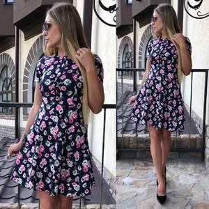 Платье короткое с принтом летнее У9050