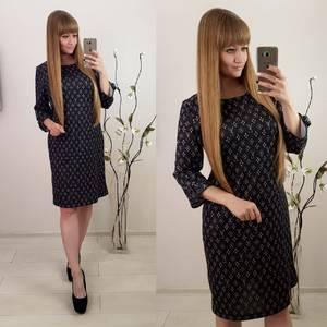 Платье короткое черное с принтом Ф3075