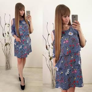 Платье короткое с принтом современное Т9918