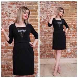 Платье короткое с рукавом 3/4 черное Т7497