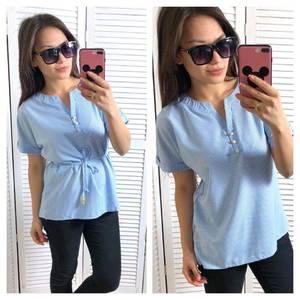 Блуза голубая для офиса Т1456