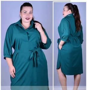 Платье короткое зеленое однотонное Т9913