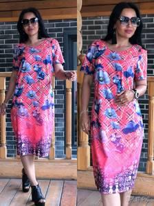 Платье короткое с принтом повседневное Т9924