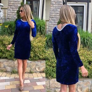 Платье короткое с длинным рукавом синее У0488
