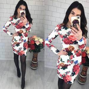 Платье короткое с длинным рукавом с принтом Х5961
