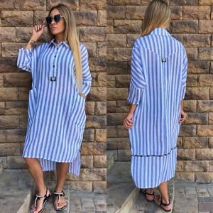 Платье длинное в полоску повседневное Т9678