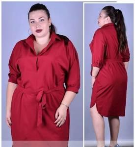 Платье короткое красное однотонное Т9914