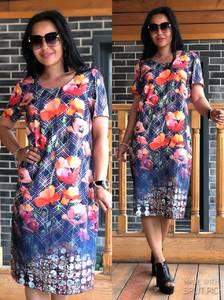 Платье короткое с принтом повседневное Т9925
