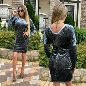 Платье короткое с длинным рукавом однотонное У0490
