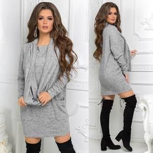 Платье короткое с длинным рукавом нарядное Ш9209