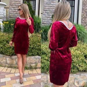 Платье короткое с длинным рукавом красное У0489