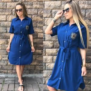Платье короткое синее летнее У0816
