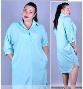 Платье короткое голубое однотонное Т9915