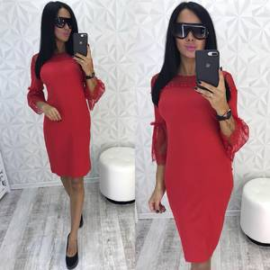 Платье короткое нарядное красное У0445