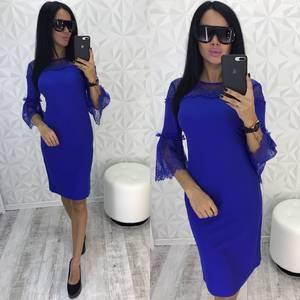 Платье короткое нарядное синее У0449