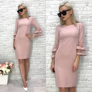 Платье  короткое с рукавом 3/4 однотонное У1432