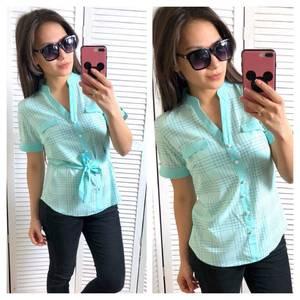 Блуза голубая для офиса Т1457
