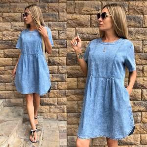 Платье короткое повседневное голубое Т7144