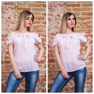 Блуза с коротким рукавом прозрачная Т7504