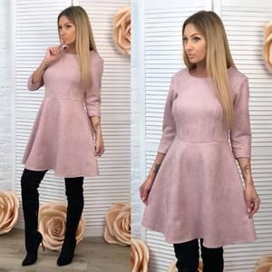 Платье короткое с рукавом 3/4 однотонное Ф7039