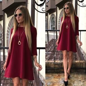 Платье короткое однотонное красное У0478