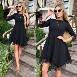 Платье короткое коктейльное черное У0483