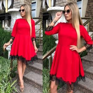 Платье короткое коктейльное красное У0482