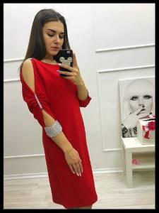Платье короткое с рукавом 3/4 красное Х5988