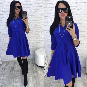Платье короткое современное синее Ф2428