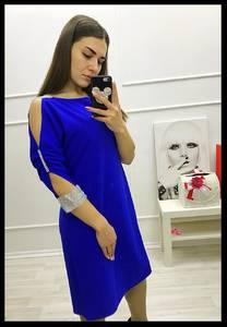 Платье короткое с рукавом 3/4 синее Х5987