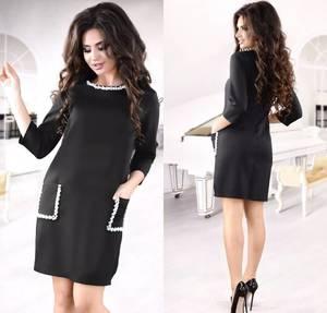 Платье короткое с рукавом 3/4 черное Ф6611