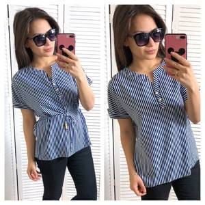 Блуза синяя для офиса Т1458