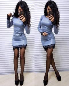 Платье короткое с длинным рукавом облегающее Ф6127