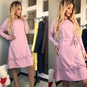 Платье короткое с длинным рукавом современное Ф6136