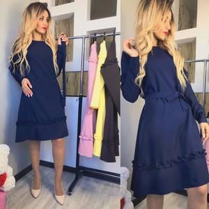 Платье короткое с длинным рукавом синее Ф6137
