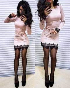 Платье короткое с длинным рукавом облегающее Ф6129