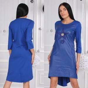 Платье короткое нарядное синее Ф9619