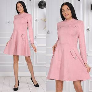 Платье короткое коктейльное с длинным рукавом Ф9623