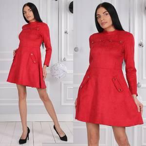 Платье короткое коктейльное с длинным рукавом Ф9624
