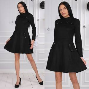 Платье короткое коктейльное с длинным рукавом Ф9626
