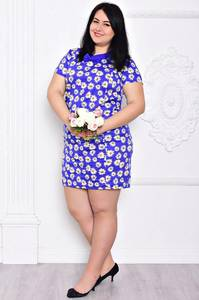 Платье короткое повседневное синее С9205