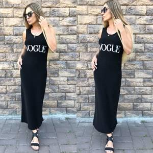 Платье длинное черное повседневное Т5252
