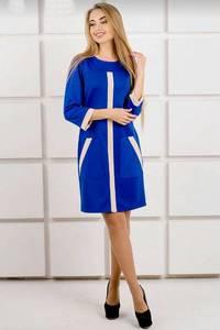 Платье короткое классическое синее У9816