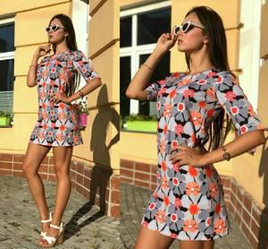Платье короткое повседневное с принтом Т9708