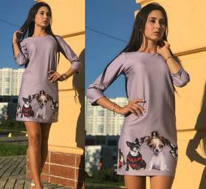 Платье короткое повседневное с принтом Т9702