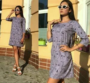 Платье короткое повседневное с принтом Т9701